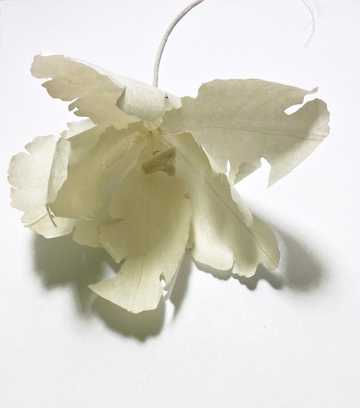 flower brooch, tulip, japanese paper, ganpi, jeannette jansen jewellery