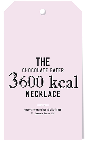 the chocolate eater necklace, jeannette jansen jewellery, calories, gold