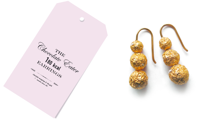 jeannette jansen jewellery, the chocolate eater jewellery, earrings, 14 karat red gold, chocolate,